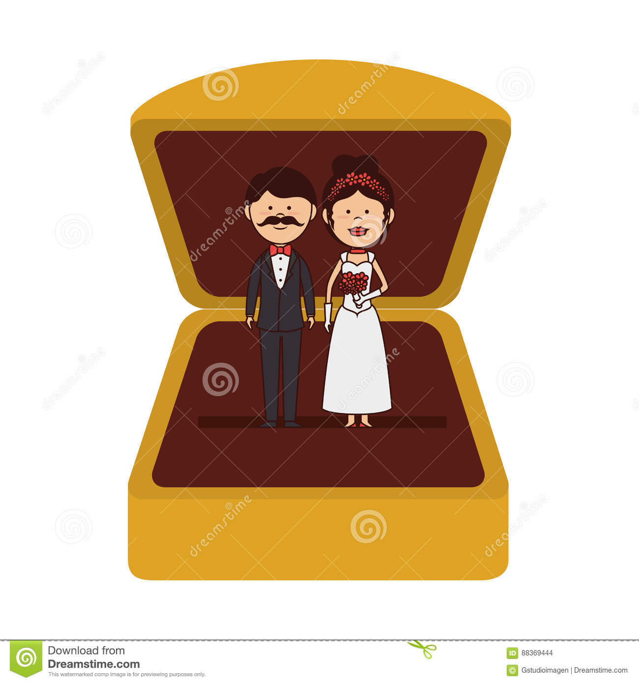 Just Married Couple Character Card Stock Vector