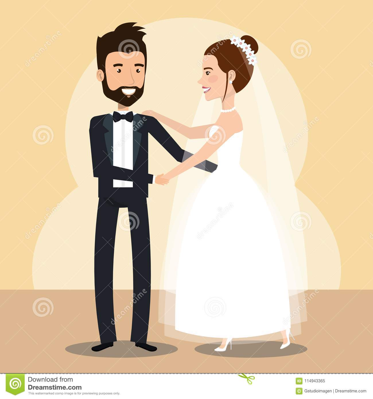 Just Married Couple Dancing Avatars Characters Stock Vector