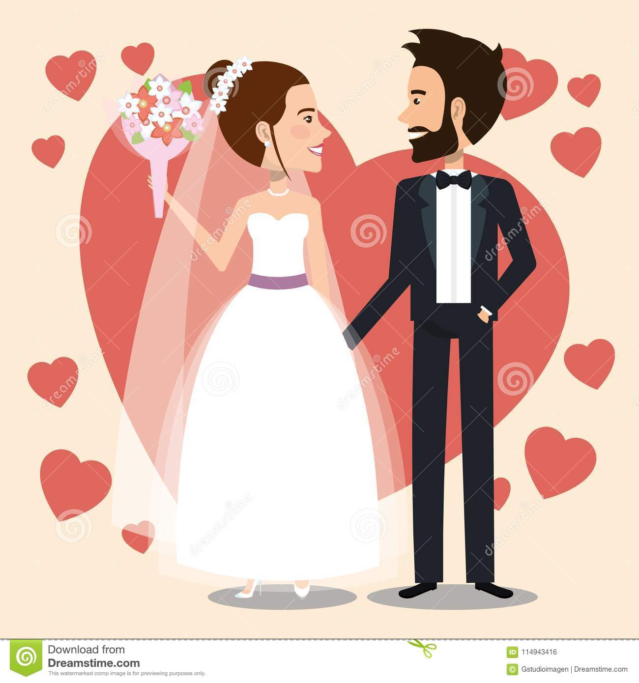 Just Married Couple With Hearts Avatars Characters Stock