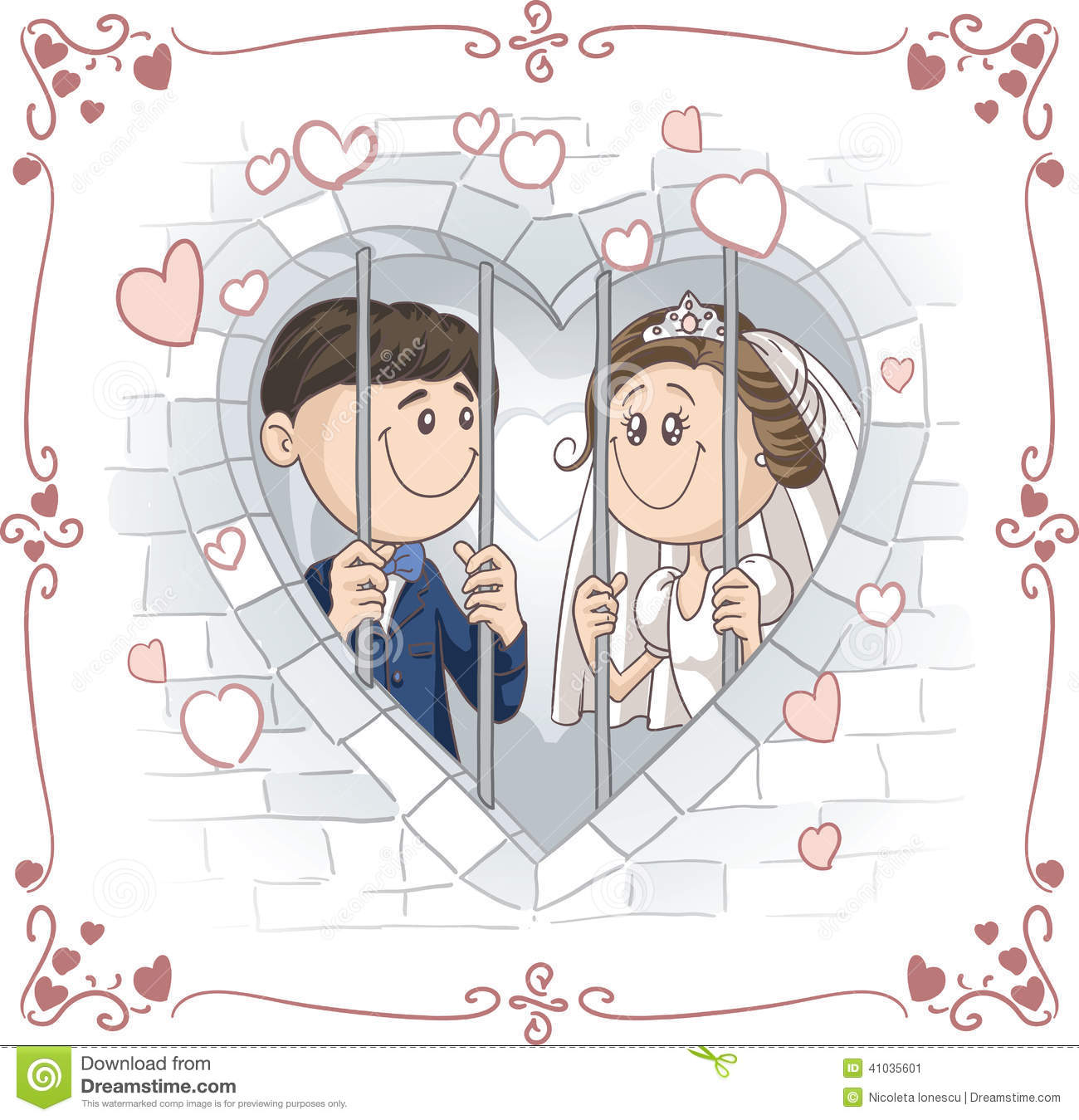 ... sharing a prison cell, lovingly. File type: vector EPS AI8 compatible