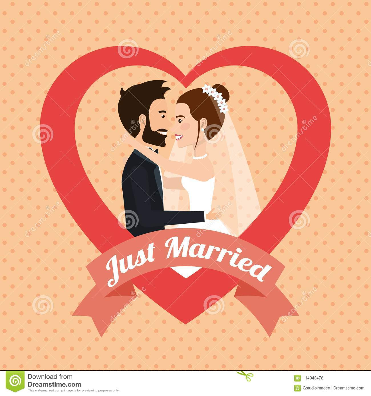 Just Married Couple Kissing Avatars Characters Stock
