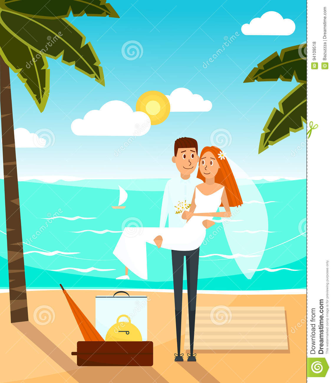 Just married couple went to the beach after wedding. Honeymoon vacation concept poster. Vector illustration with cartoon