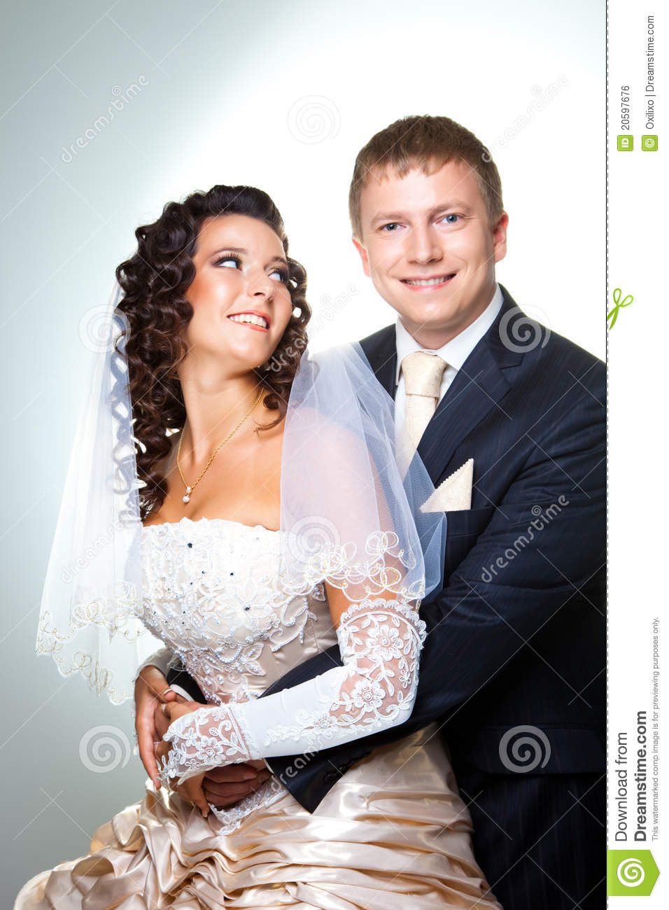 Bride And Groom Romantic Newly Married Couple Embracing