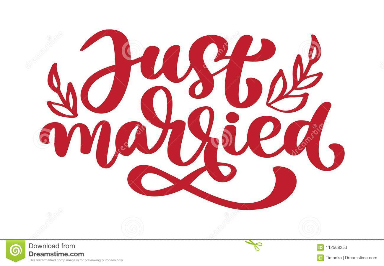 Just Married Hand Lettering Text For Wedding Cards And Invitation ...