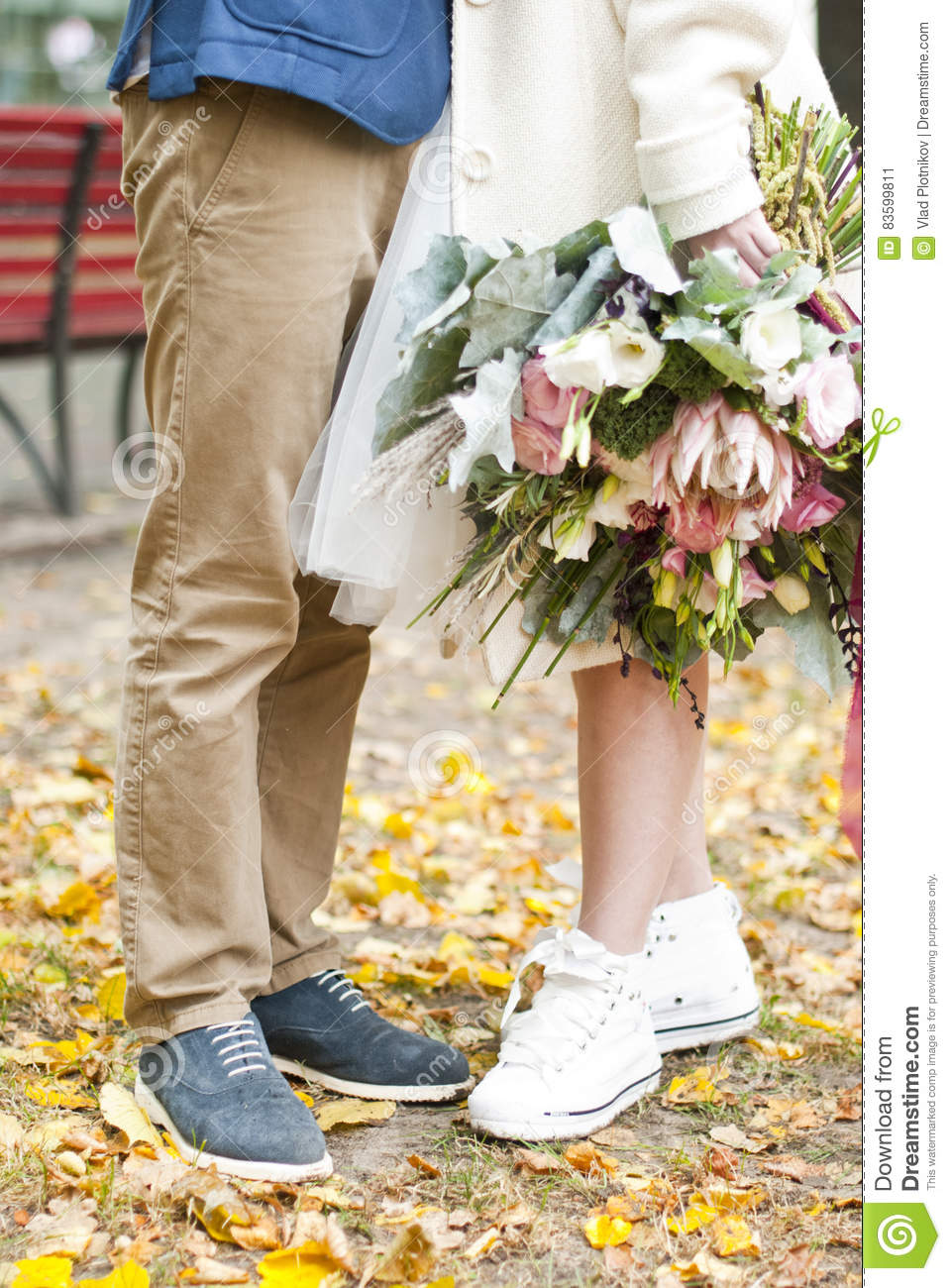 Just Married Loving Hipster Couple In Wedding Dress And Suit