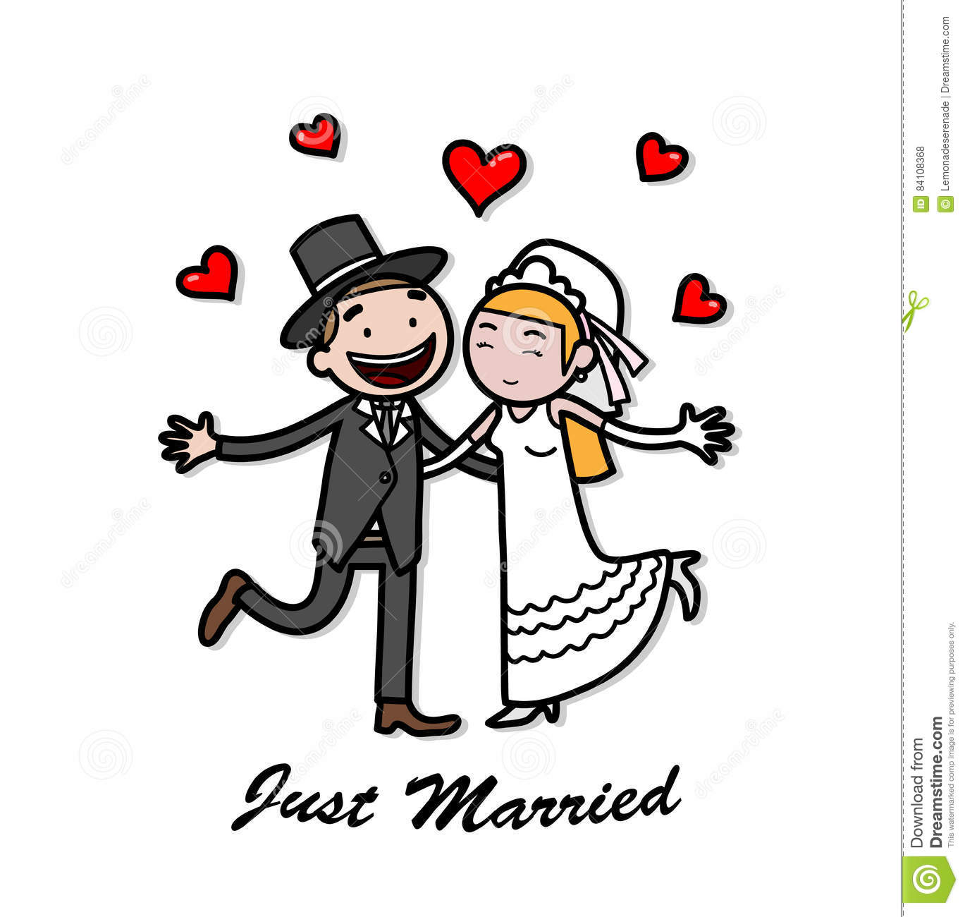 Just Married Newlywed Wedding Couple Stock Vector