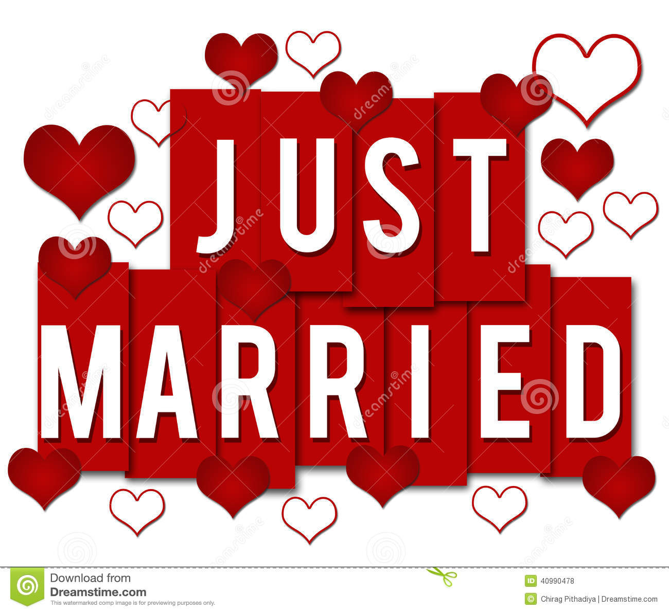 Just Married Red Stripes Stock Illustration - Image: 40990478