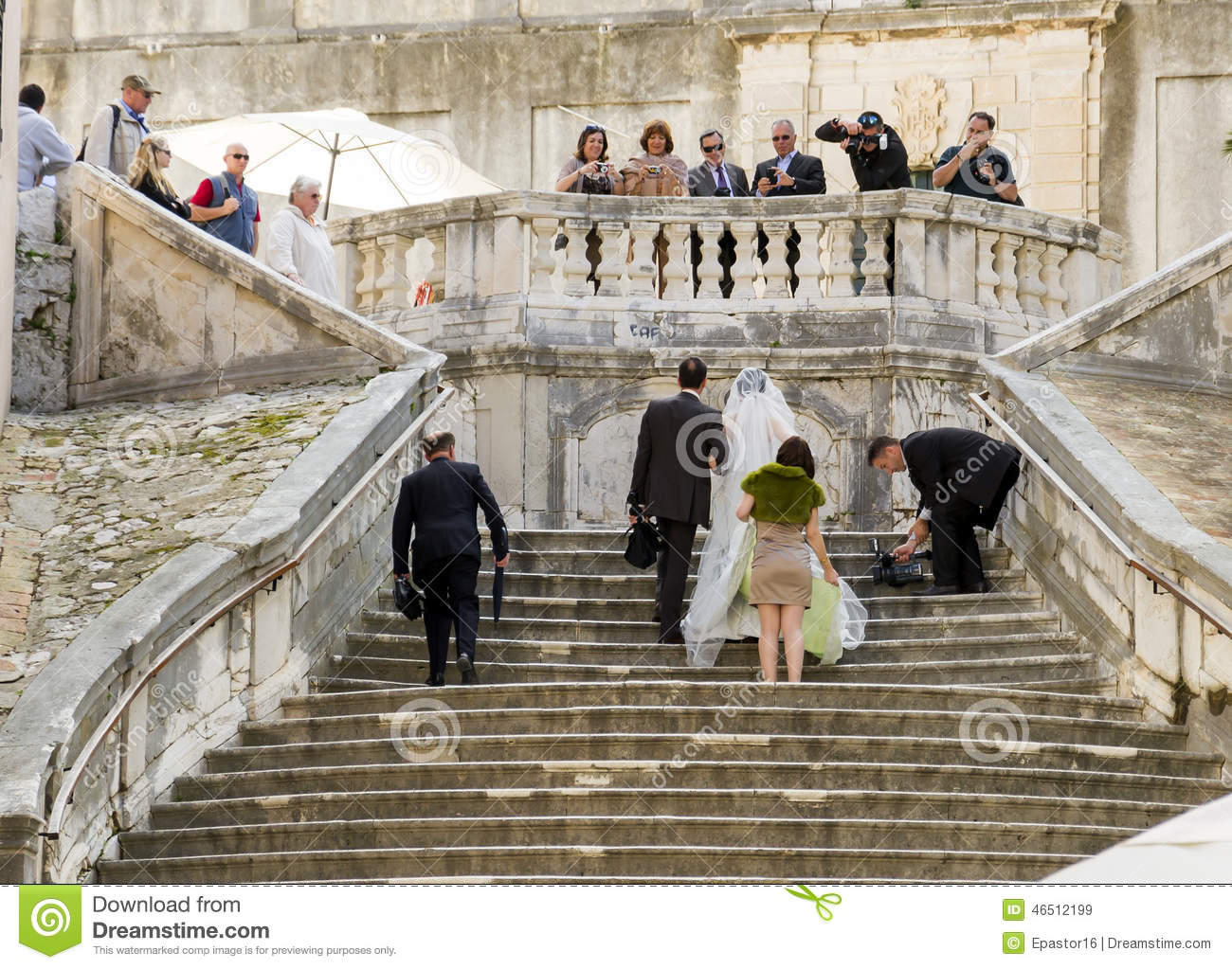 Just Married On The Stairs Editorial Stock Image Image