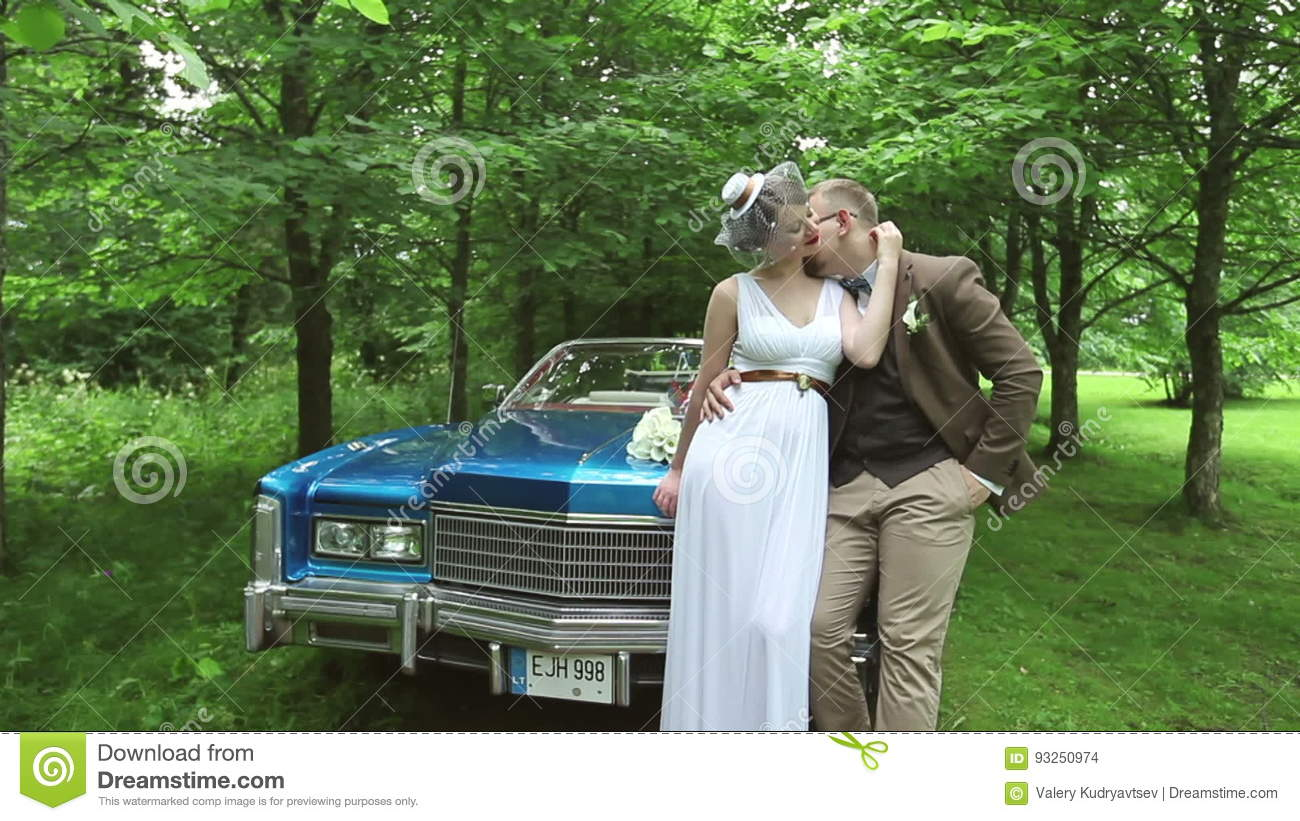 Just Married Wedding Couple Bride And Groom In Love Near The