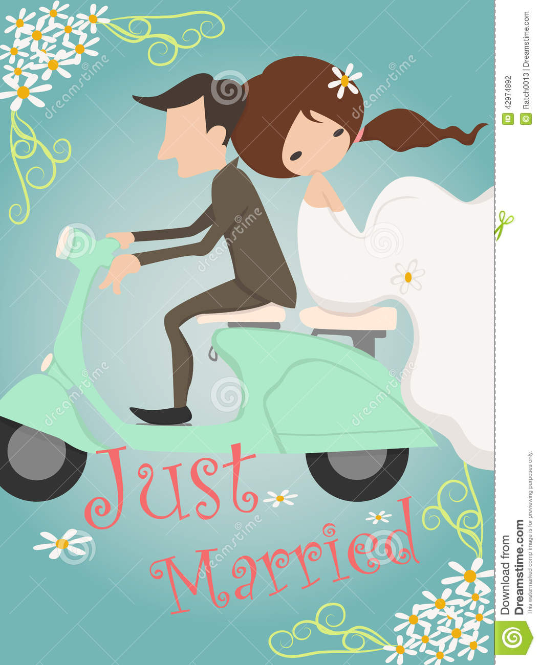 Just Married Wedding Invitation Card Design Stock Vector ...