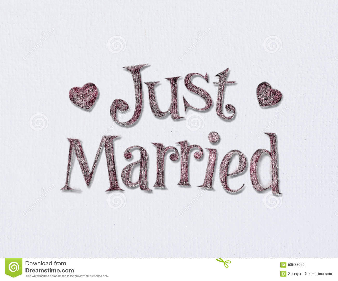 Room Wall Design Just Married Stock Photo Image 58588059