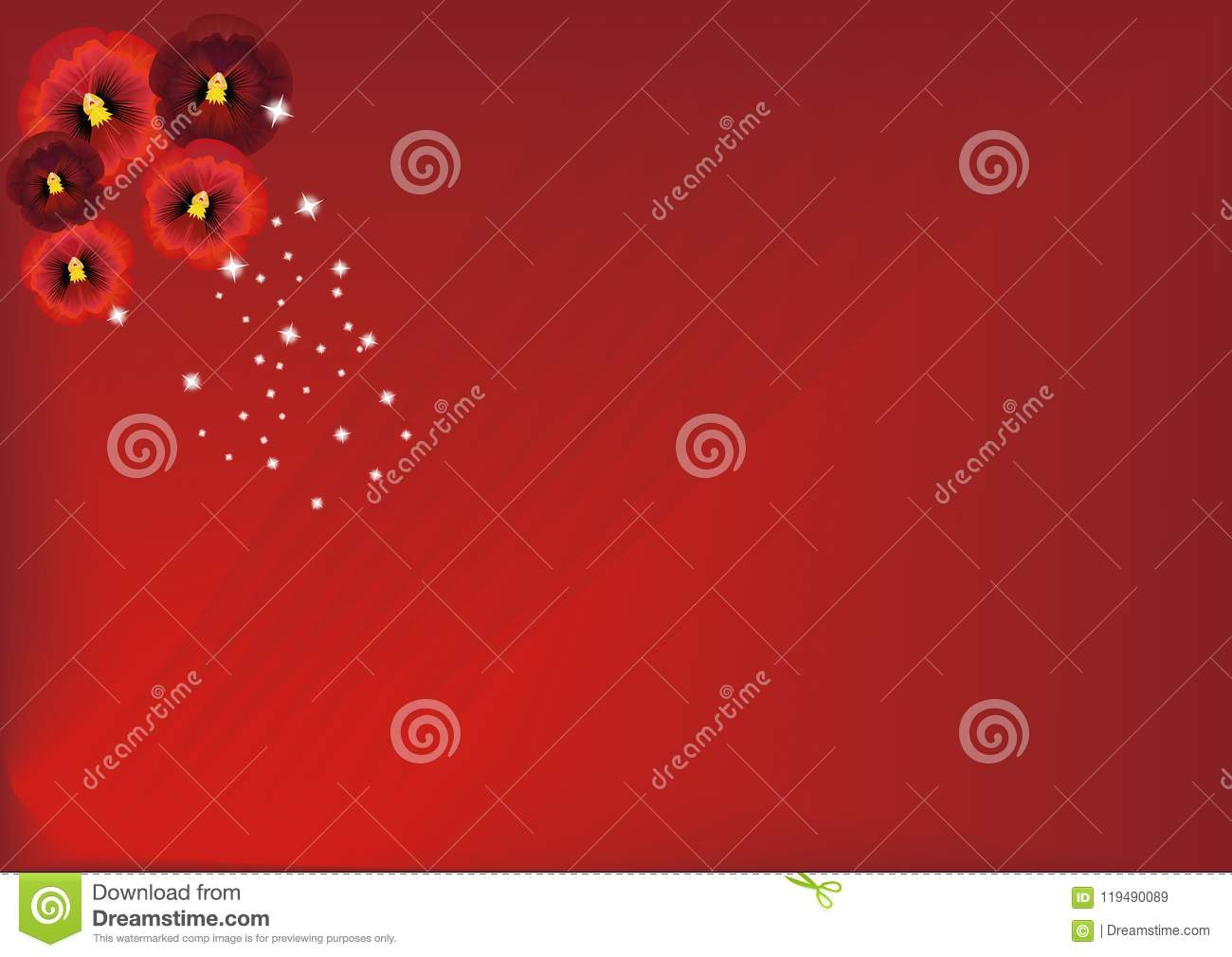 Just Red Pansies Backdrop