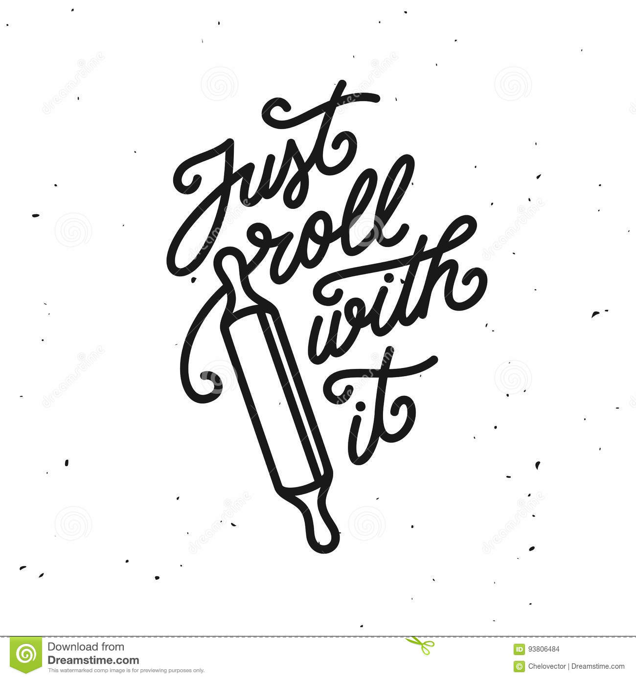 Vector Drawing Lines Quotes : Just roll with it kitchen quote typography print vector