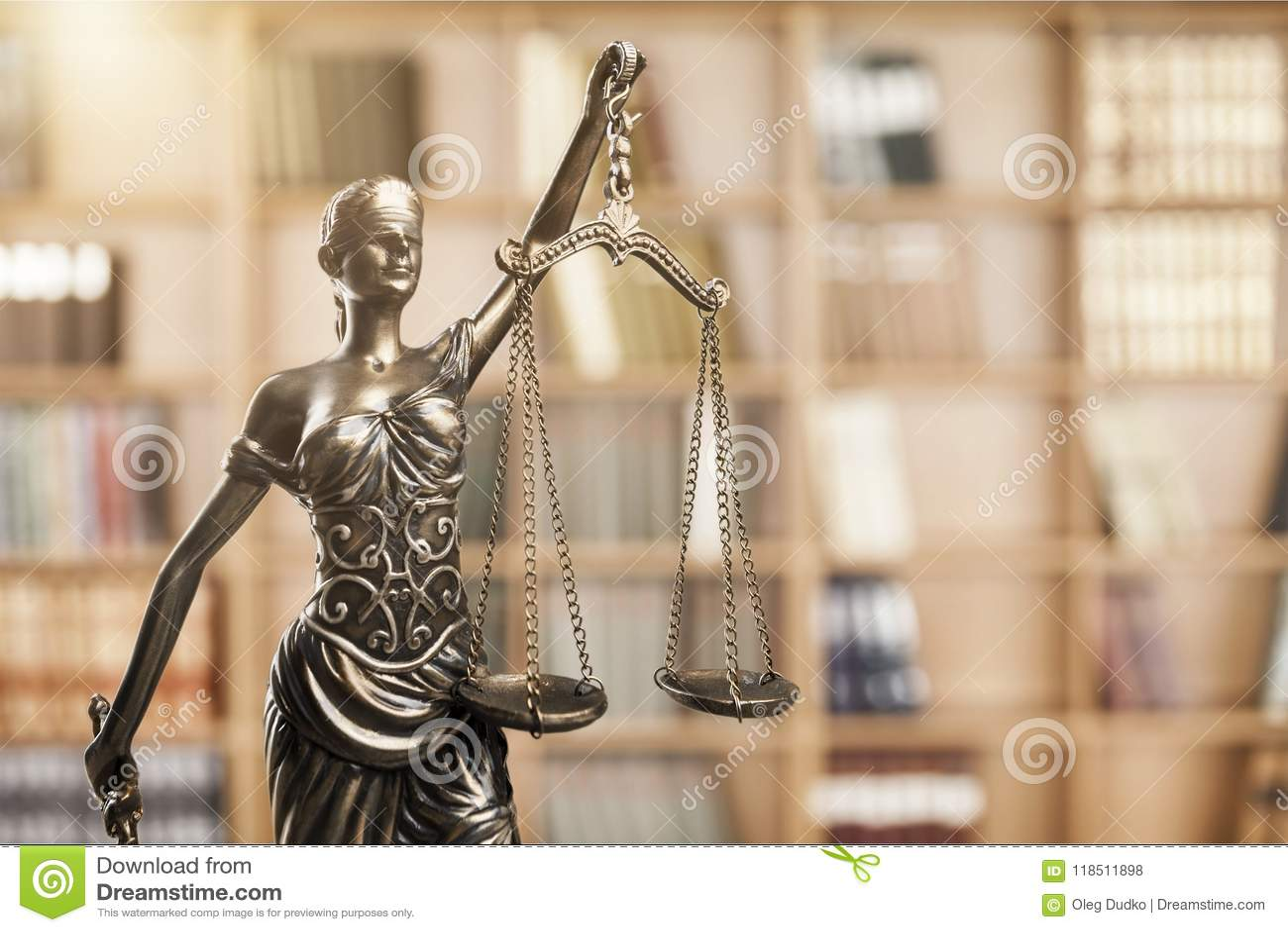 Justice Concept Admonition Balance Blind Book Bookshelf Bronze