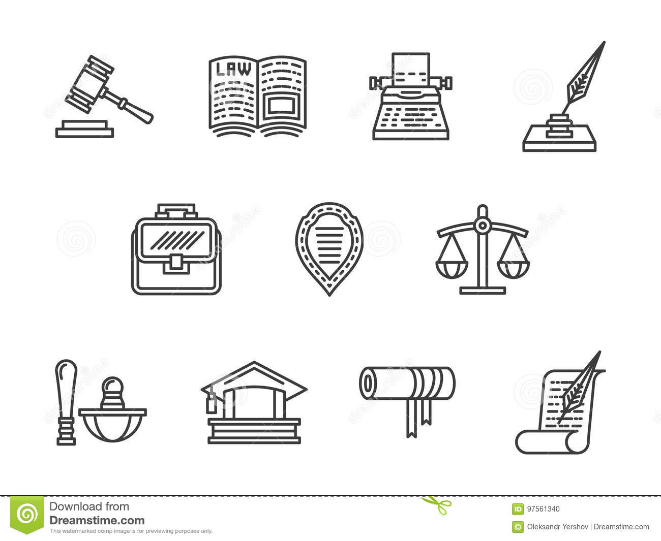 Justice And Law Black Line Icons Set Stock Illustration