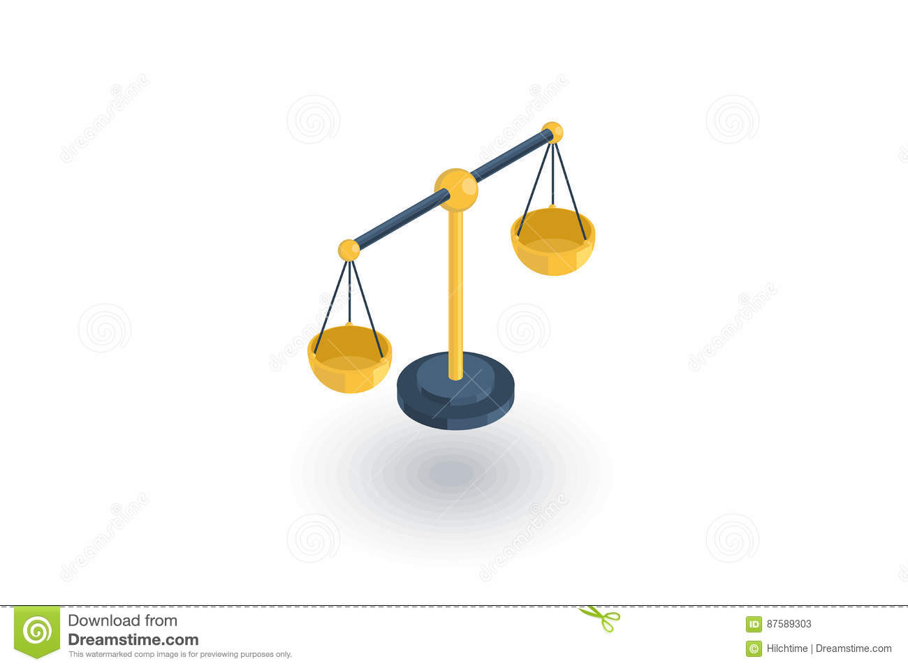 Justice and law symbol, scales isometric flat icon. 3d vector