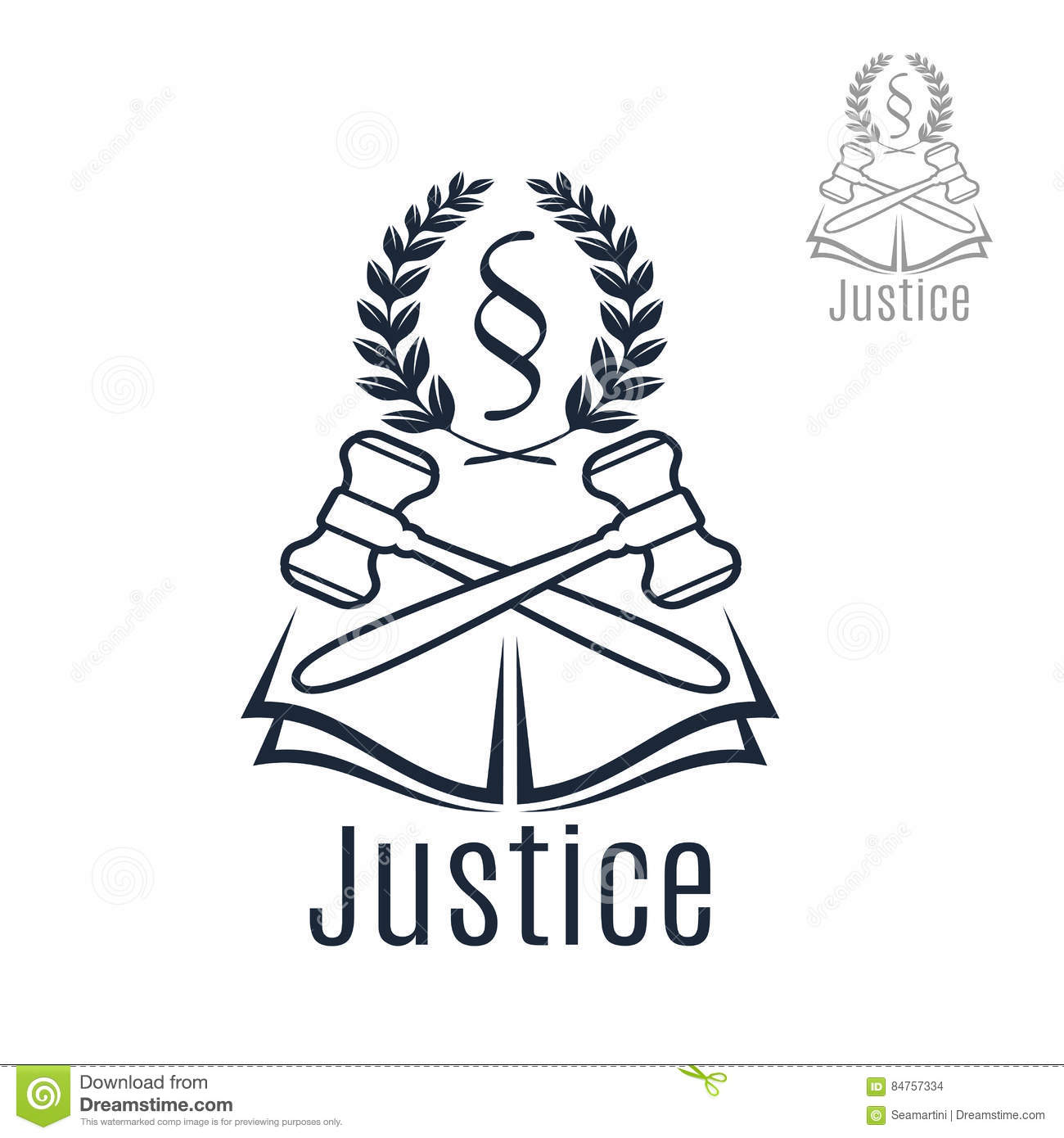 Justice Legal Vector Emblem Of Gavel Wreath Book Stock Vector