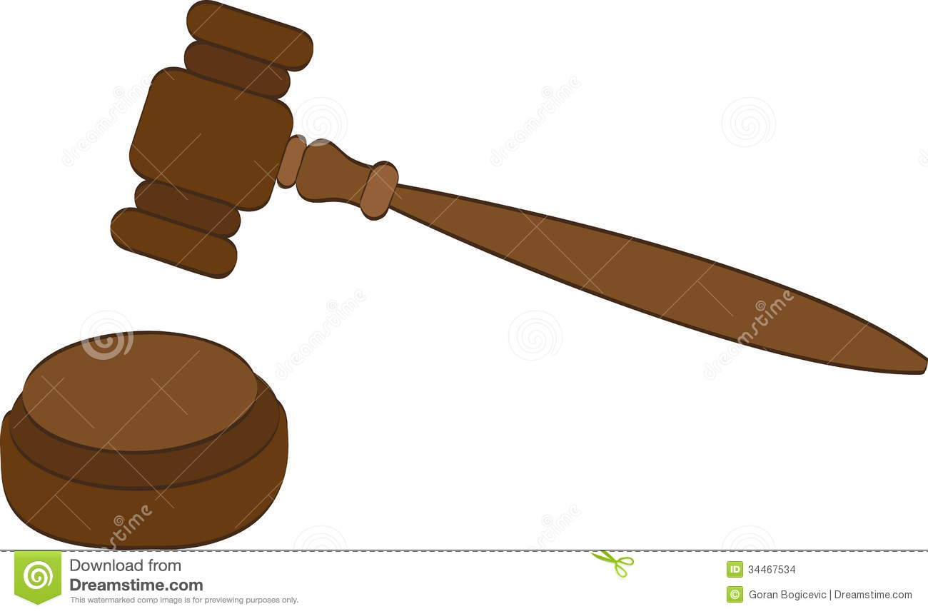 Vector Illustration Hammer: Justice Stock Images