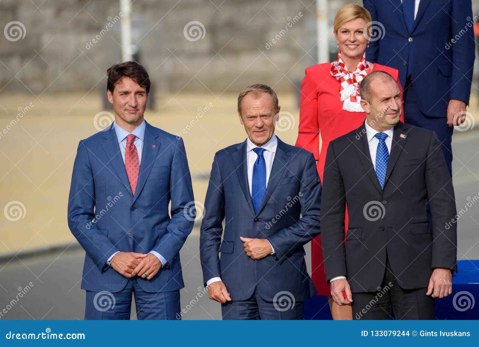 Justin Trudeau, Donald Tusk, Kolinda Grabar Kitarovic und Ruman Radev