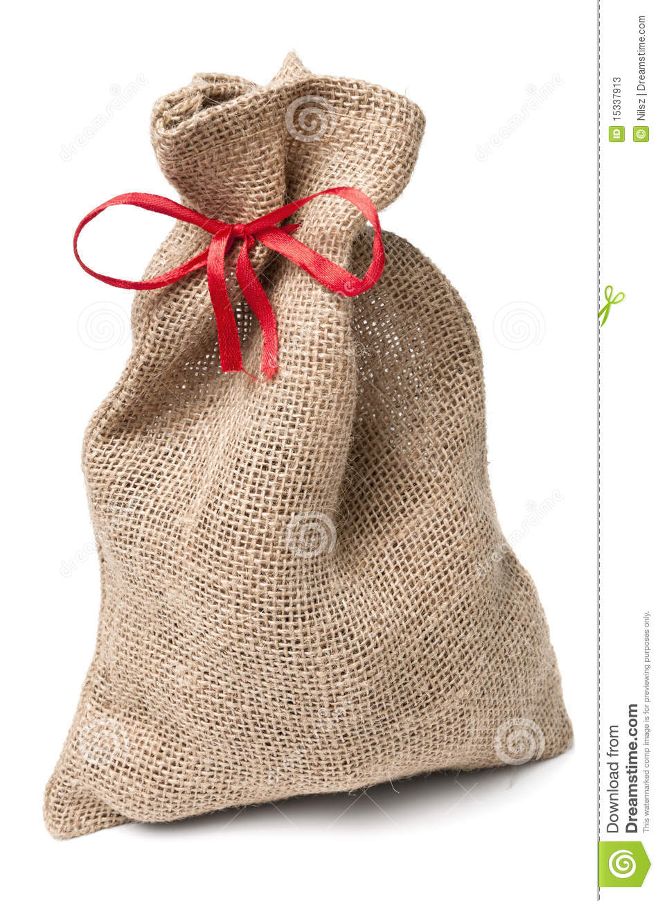 Jute Sack Present With Red Ribbon Stock Image Image Of