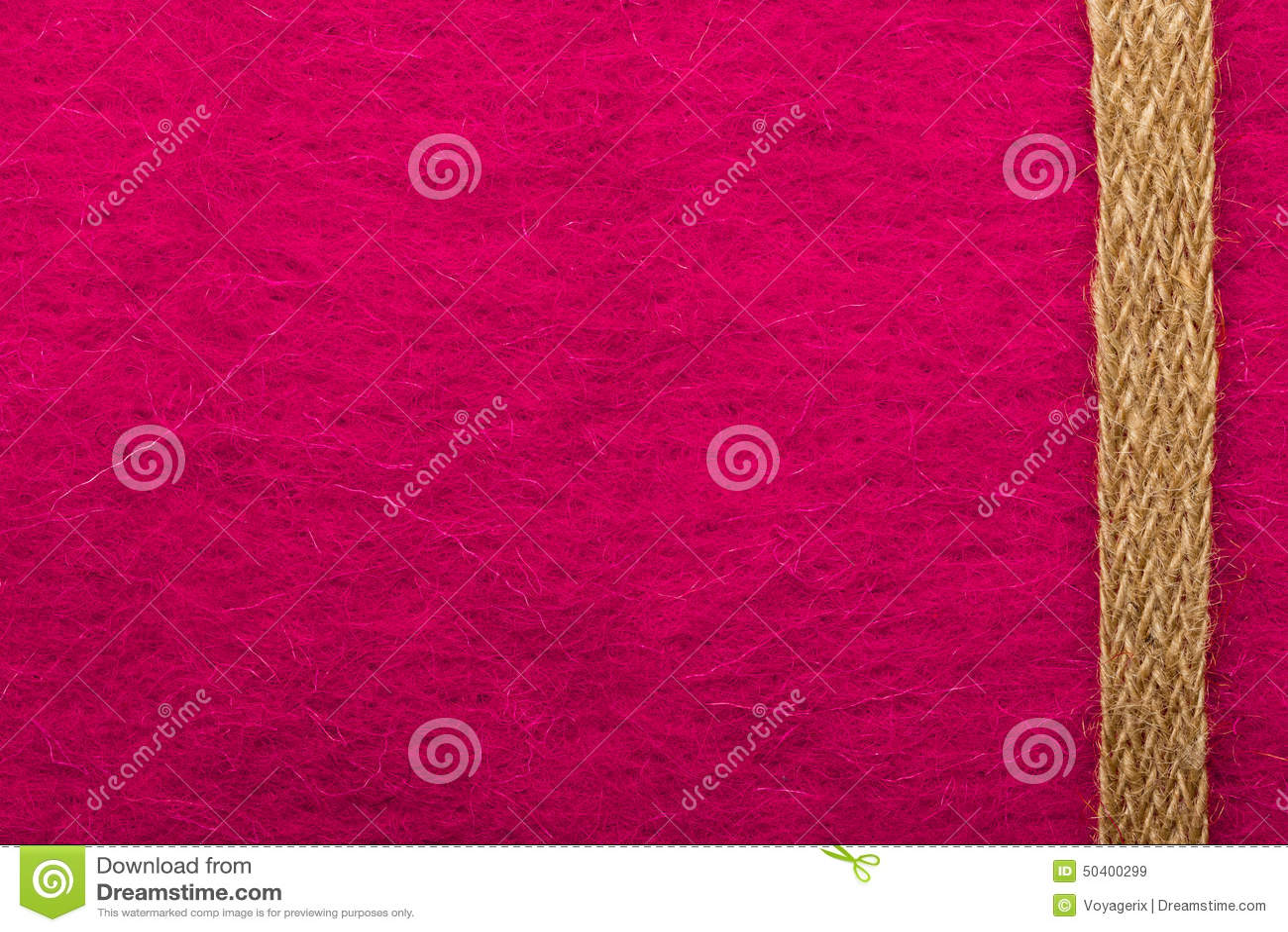 Jutefaserseil über rosa Hintergrund