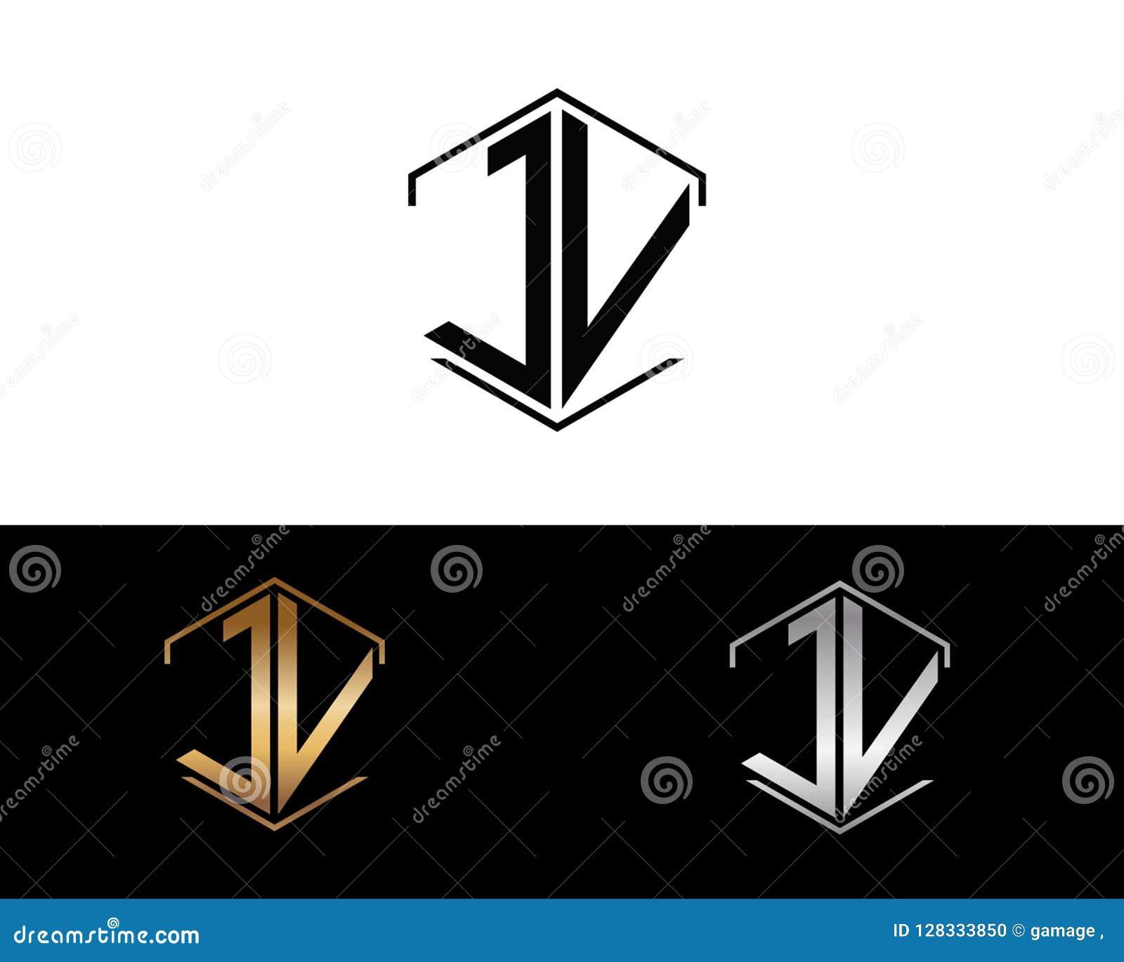 Jv-Buchstaben verbunden mit Hexagonformlogo