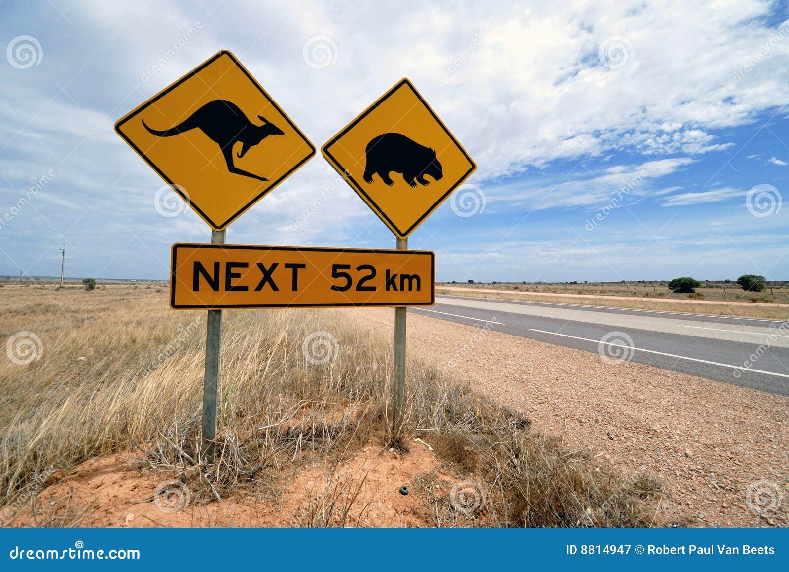 Känguru, wombat Warnzeichen Australien