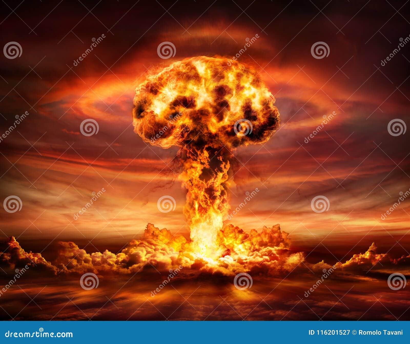 Kärn- bombardera explosionen - champinjonmoln