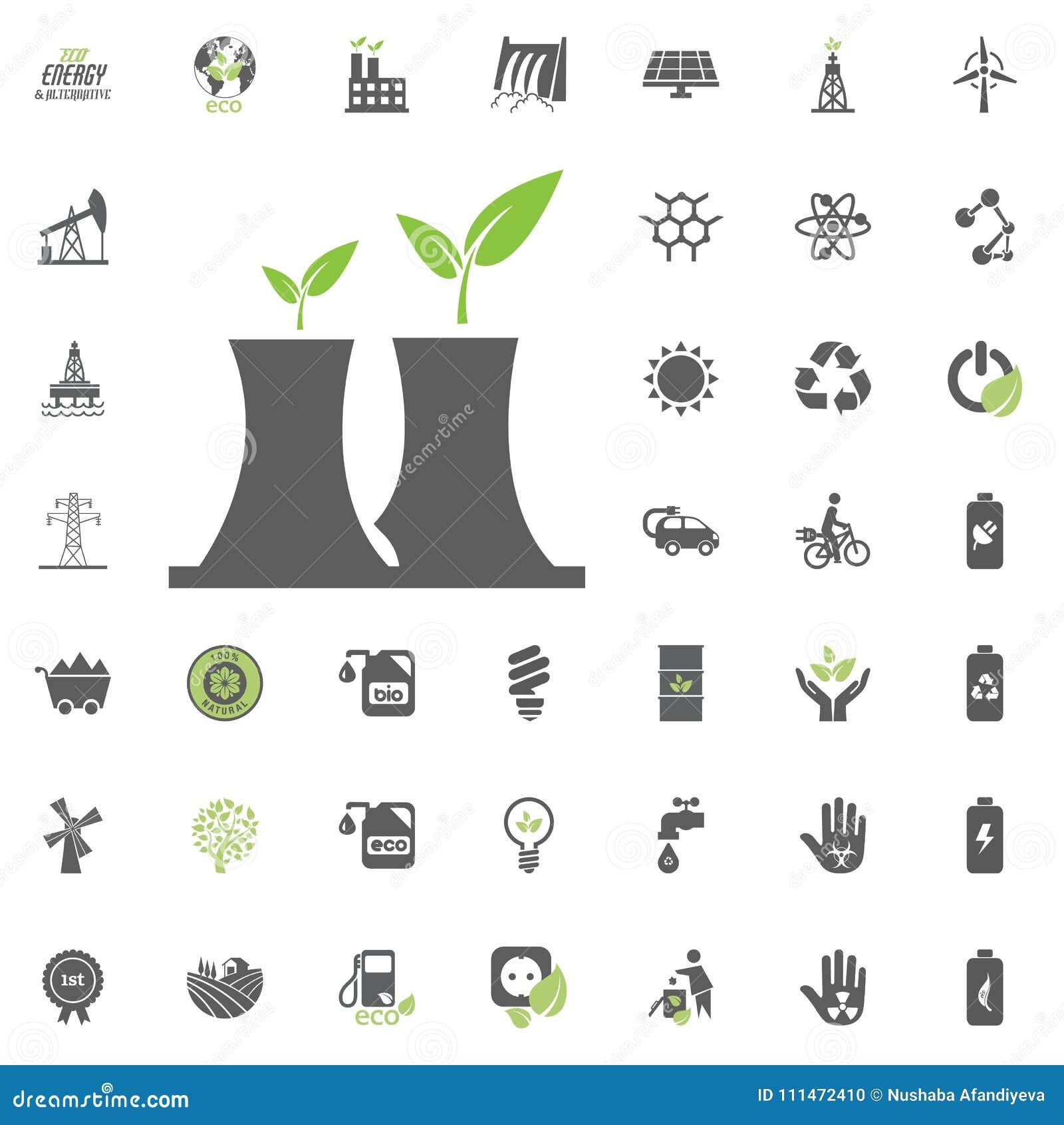 Kärnkraftverksymbol Uppsättning för Eco och för alternativ energi vektorsymbol Vektor för uppsättning för resurs för makt för ele