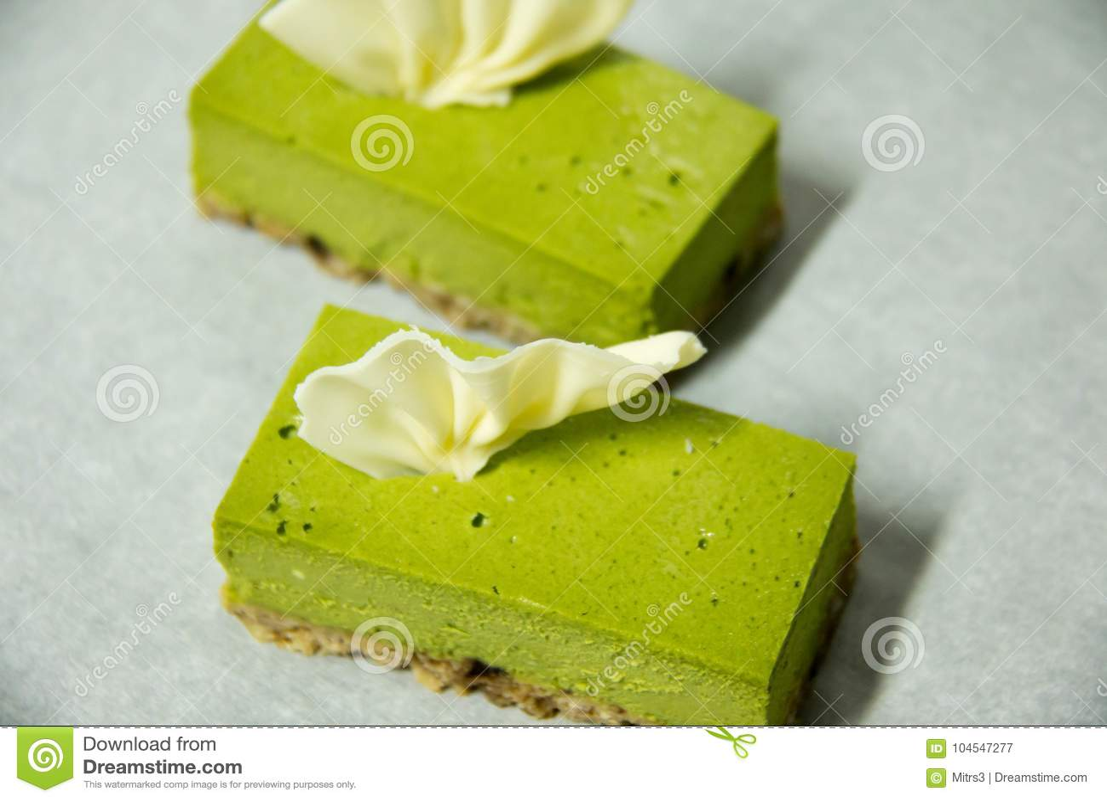 Käsekuchen des grünen Tees