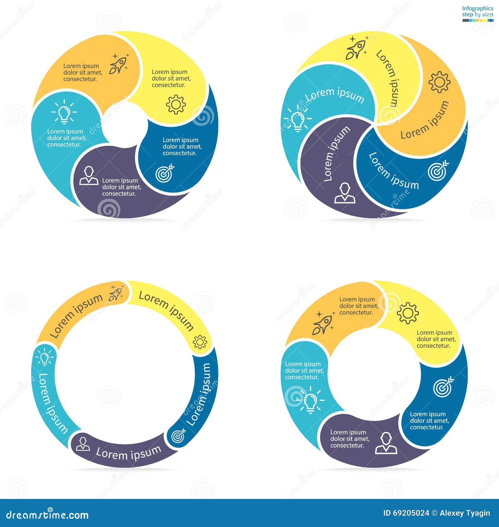 Kółkowy infographics z zaokrąglonymi barwionymi sekcjami