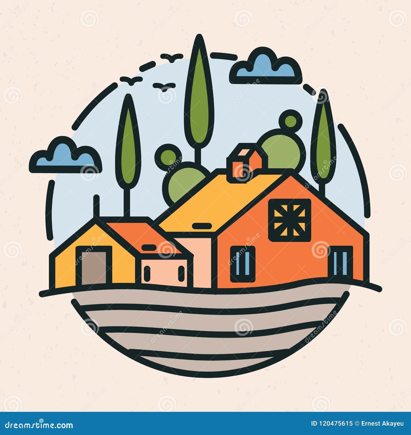 Kółkowy logotyp z wioska krajobrazem, budynek i kultywujący pole w liniowym stylu, stajni lub rancho Round logo lub