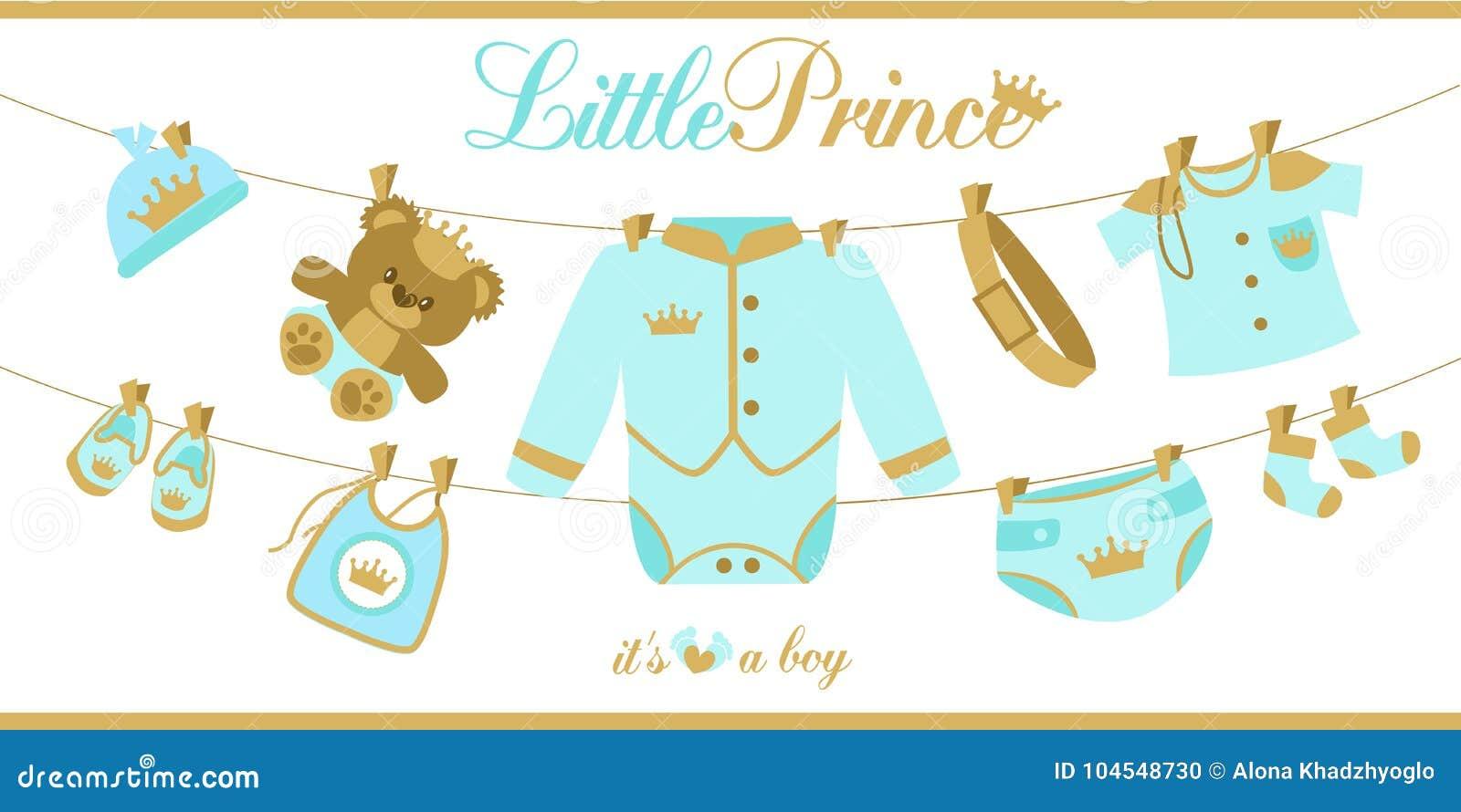 Königliche Babyduschkarte Babykleidung, Die An Einem Seil Hängt ...