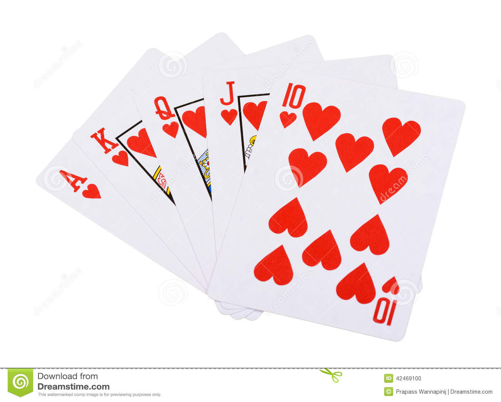 Königlicher Poker des geraden Errötens der roten Herzen