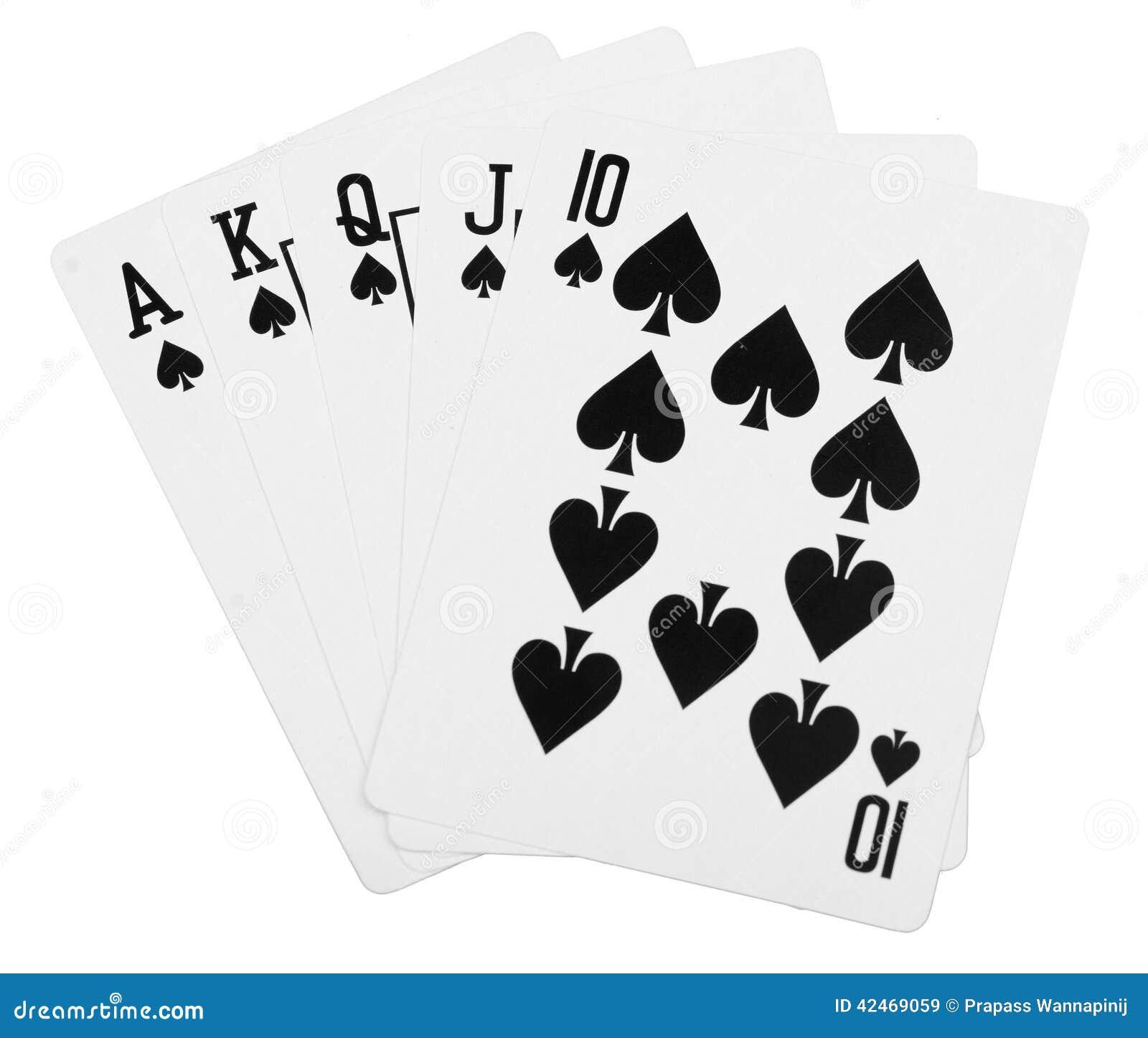 Königlicher Poker des geraden Errötens des schwarzen Spatens