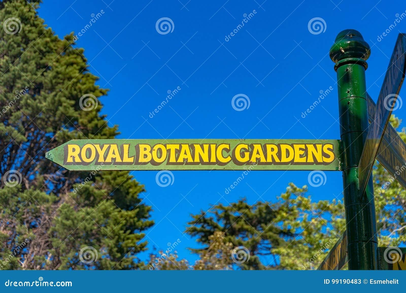 Koniglicher Strassen Wegweiser Der Botanischen Garten Redaktionelles