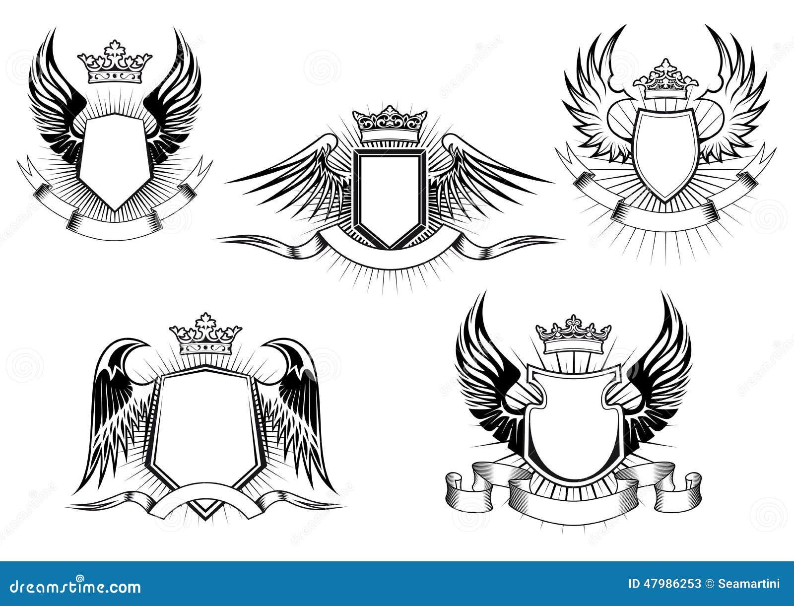 Wappen Ritterschildschablonen Vektor Abbildung - Illustration von ...
