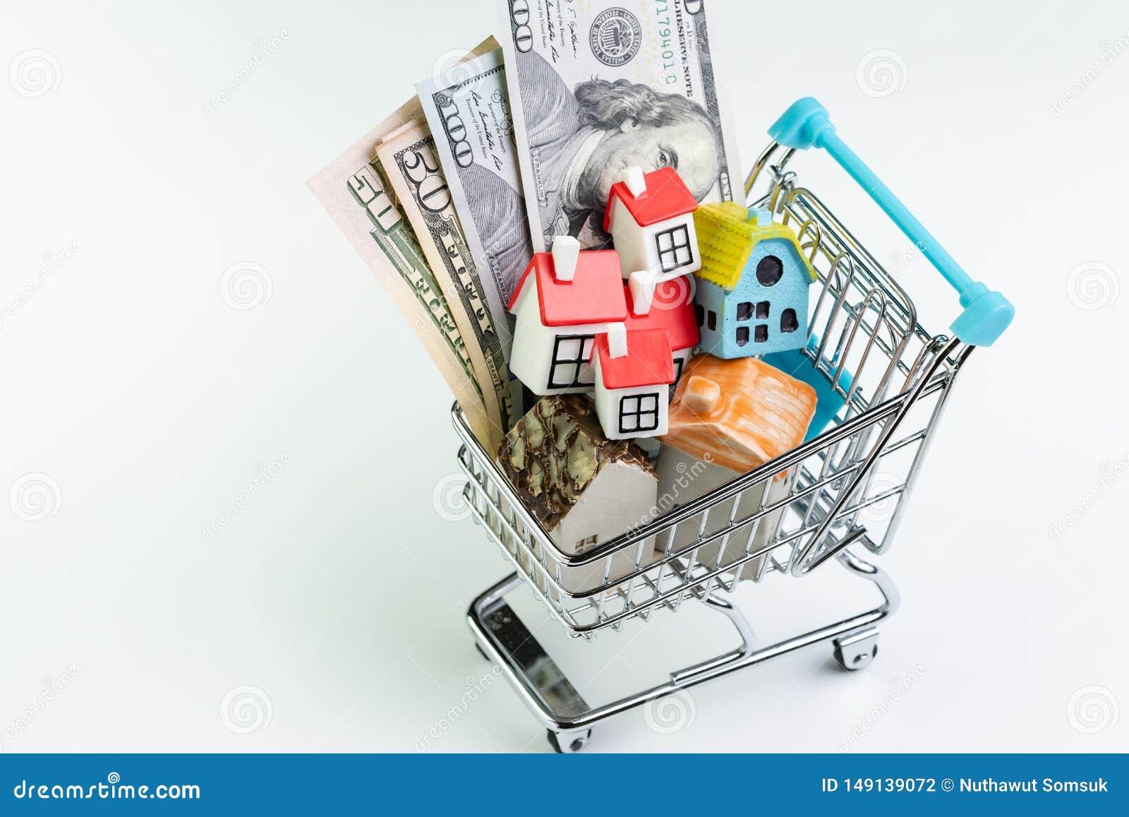 Köp- och försäljningshus, egenskapstillgång och efterfrågan eller fastighet som inhandlar begrepp, shoppingvagn eller spårvagn me