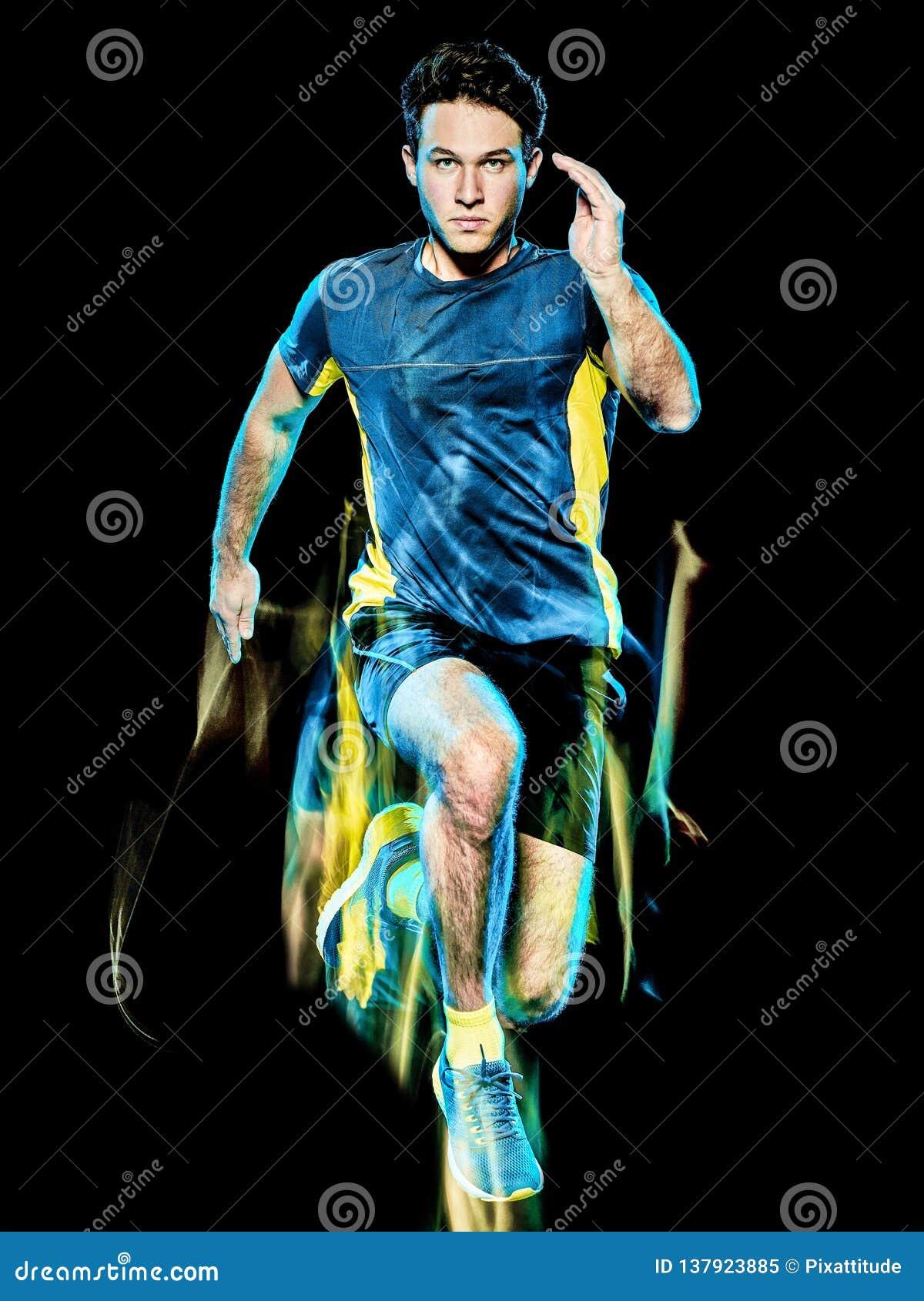 Körande jogger för löpare som joggar man isolerat ljus som målar svart bakgrund
