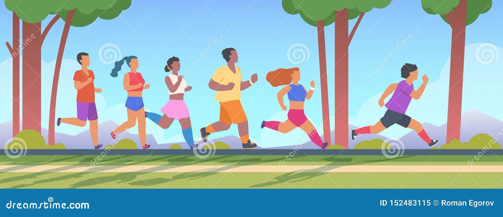 Körning för folk 5K Män och kvinnagrupp som kör 5K avståndet, utomhus- sunt övningsbegrepp för sommar Vektor sprungen om aktivite