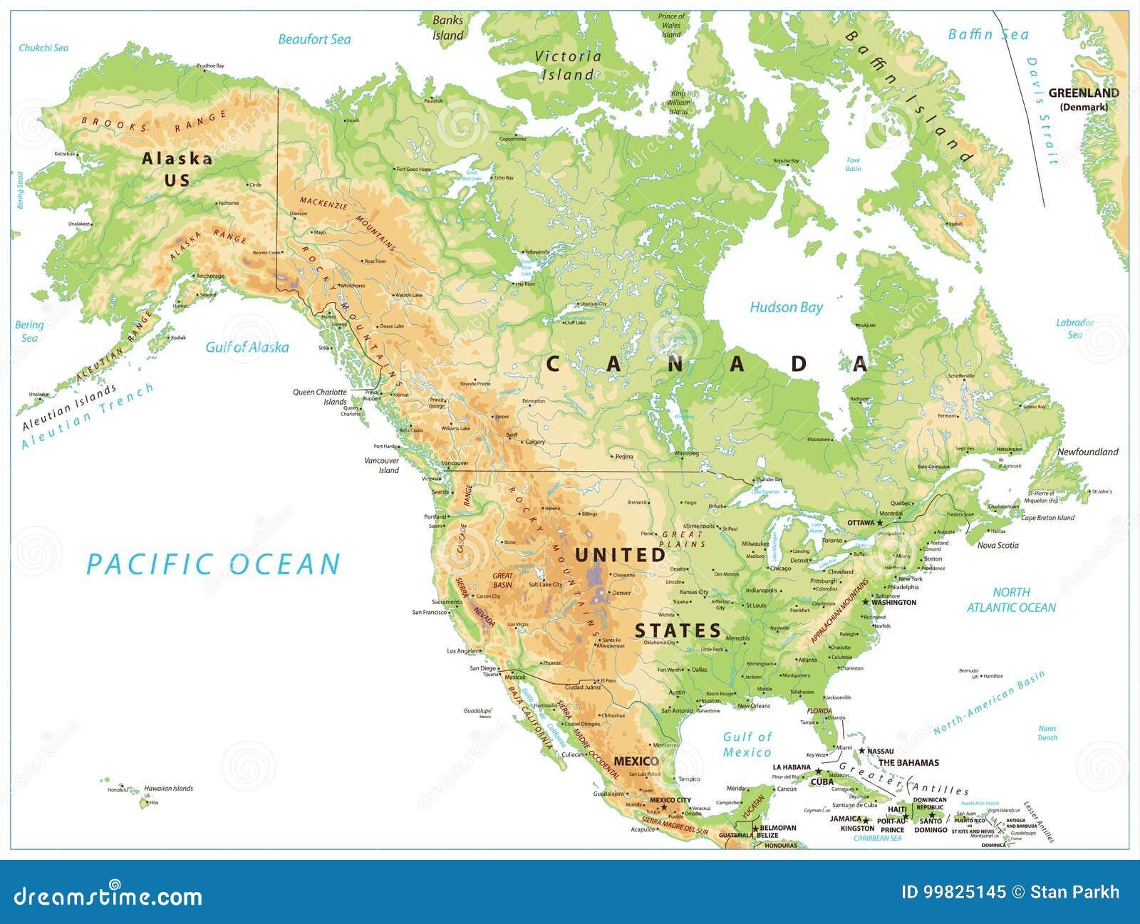 Karte Nordamerikas.Körperliche Karte Nordamerikas Lokalisiert Auf Weiß Vektor Abbildung