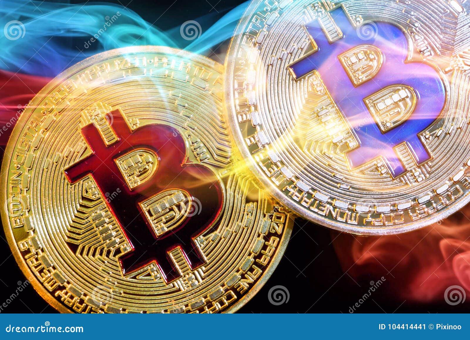 Körperliche Version neuen virtuellen Geldes Bitcoin mit buntem Rauche