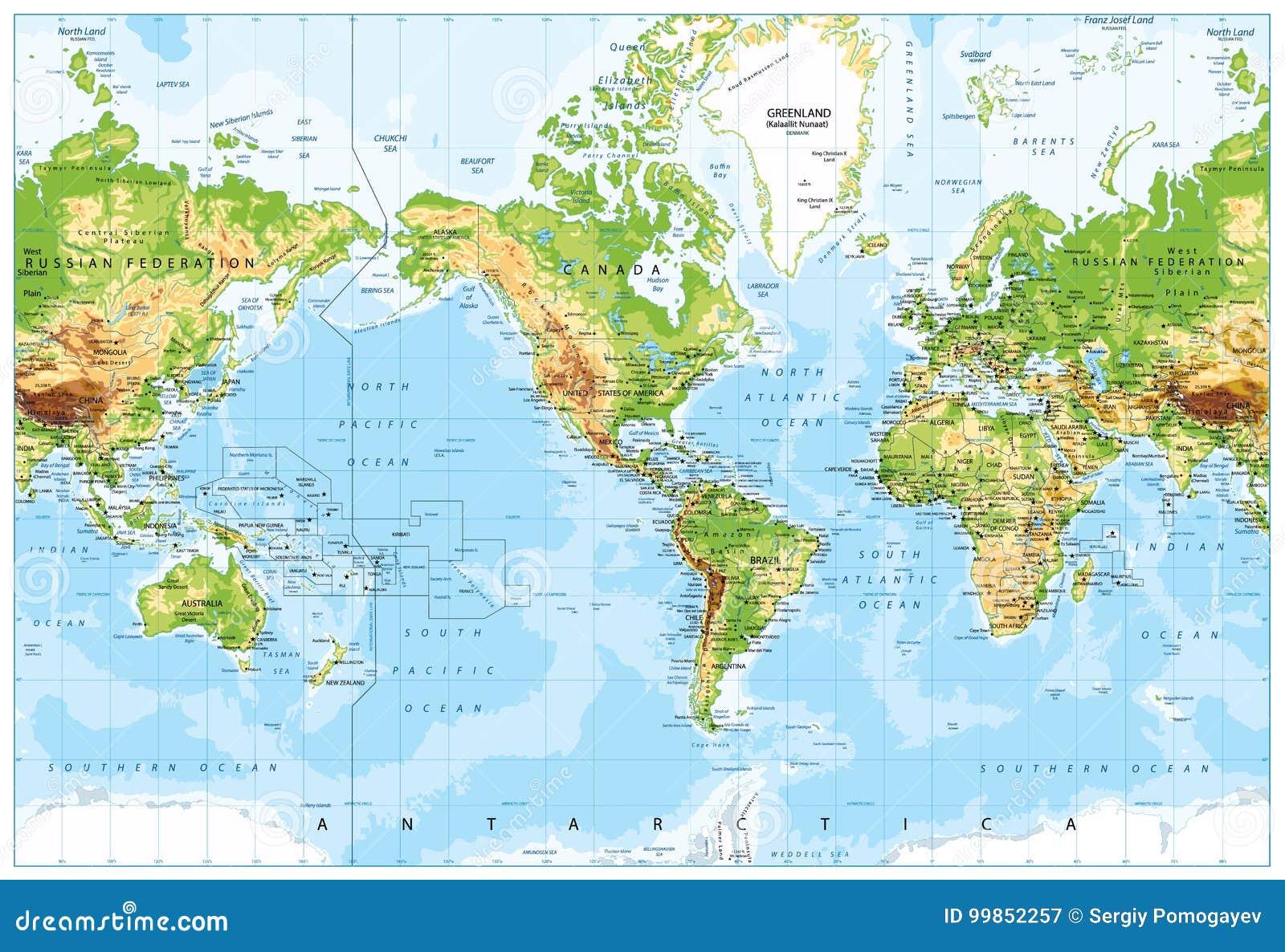 Korperliche Weltkarte Amerika Zentriert Und Tiefenmessung Vektor