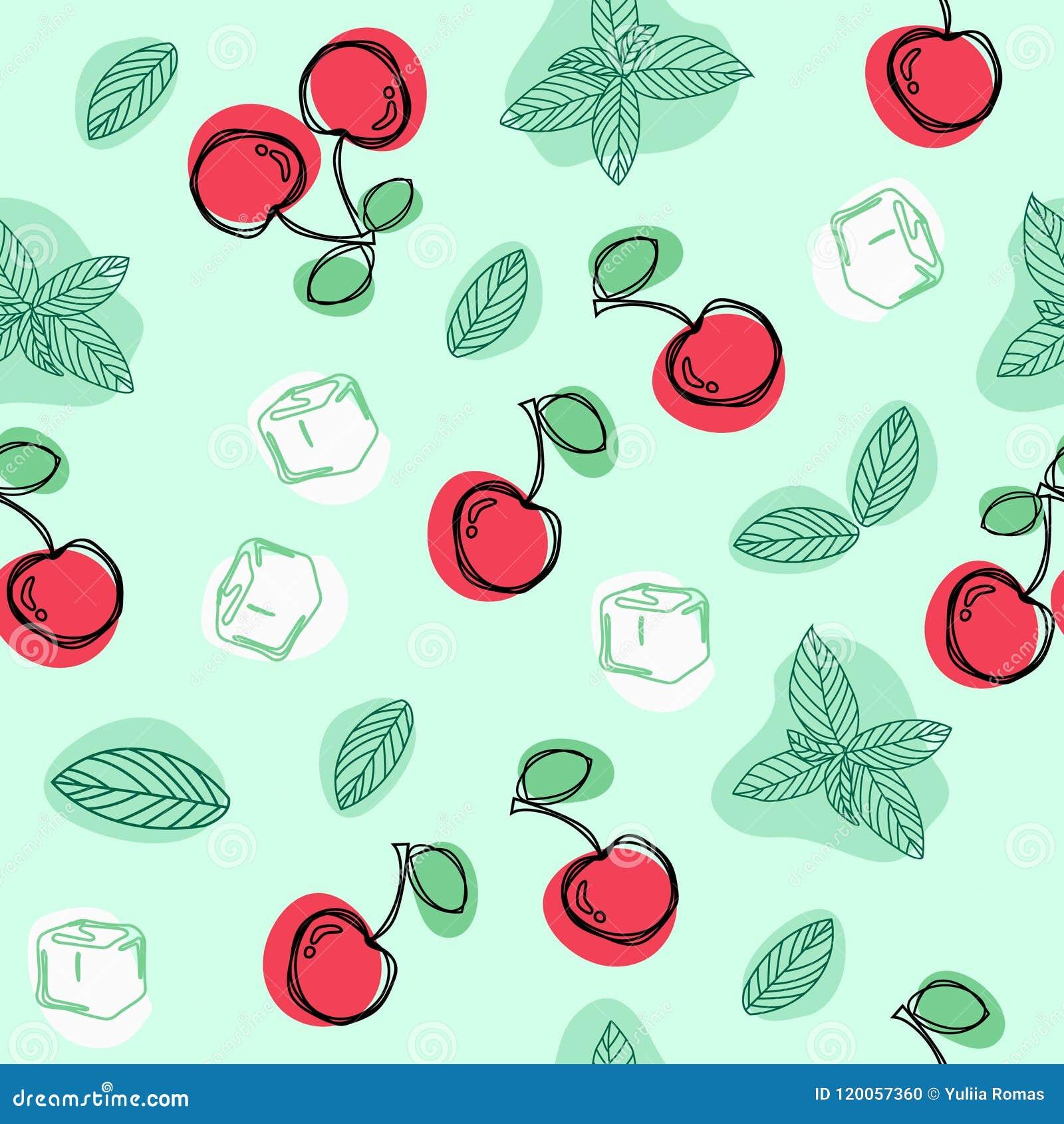 Körsbär, mintkaramellblad och handen för iskuber drar den sömlösa modellen för vektorn