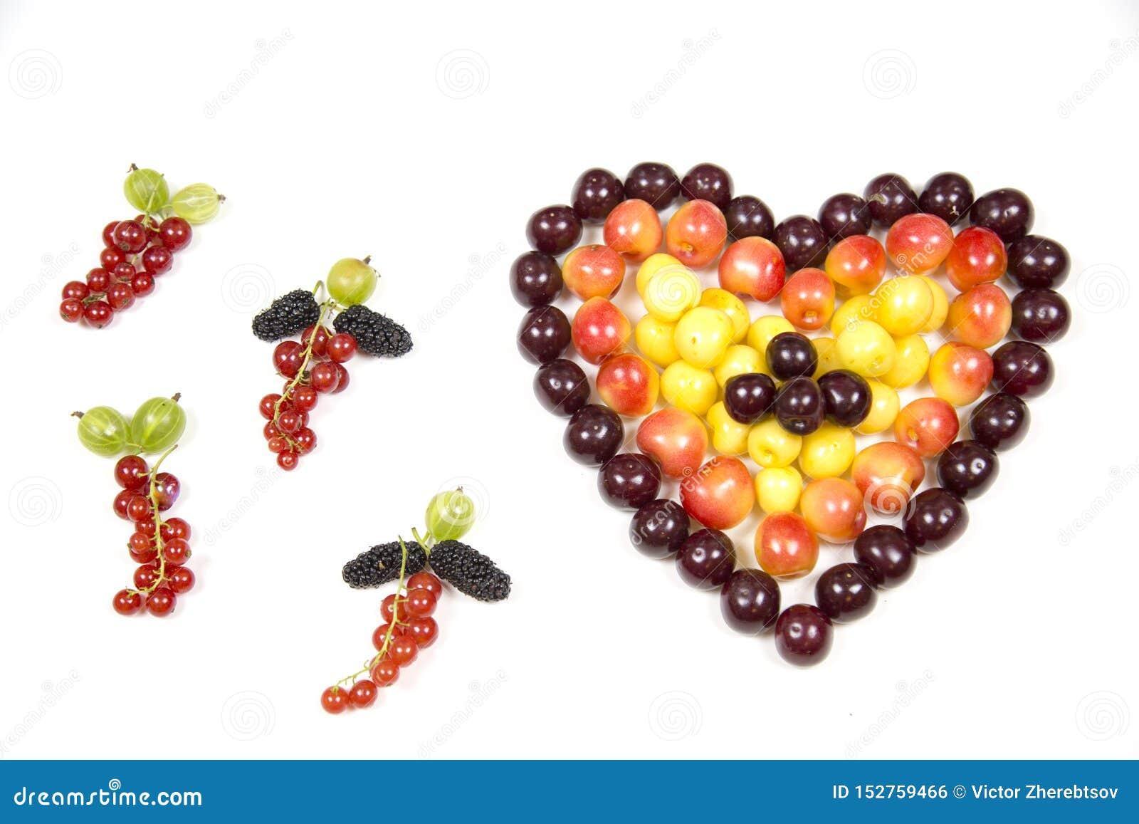 Körsbärsröda bärkörsbär i form av en hjärta av röd rosa guling och tofsar av krusbärmullbärsträdet för röd vinbär som isoleras på
