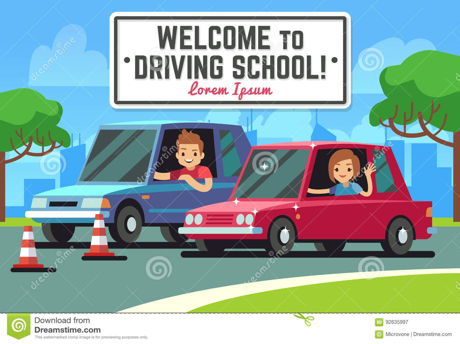 Körskolavektorbakgrund med den unga lyckliga chauffören i bilar på vägen