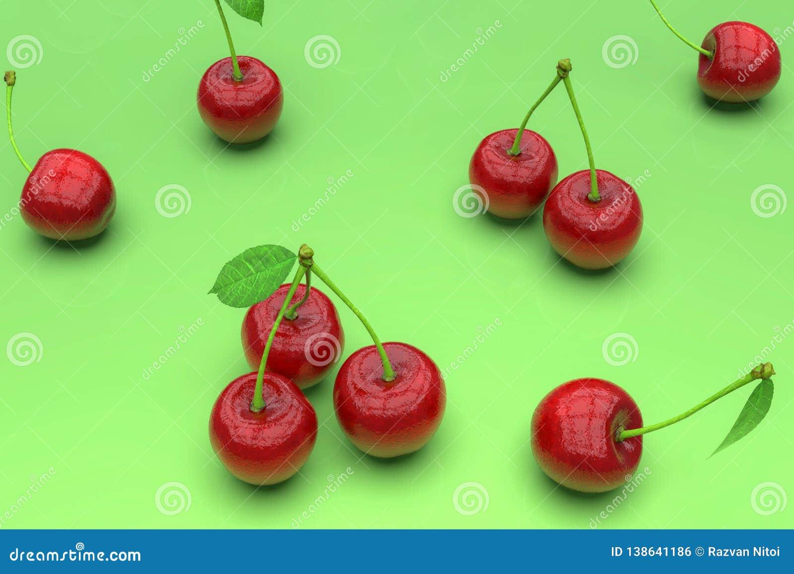 Köstliche rote Kirschen auf grünem Hintergrund