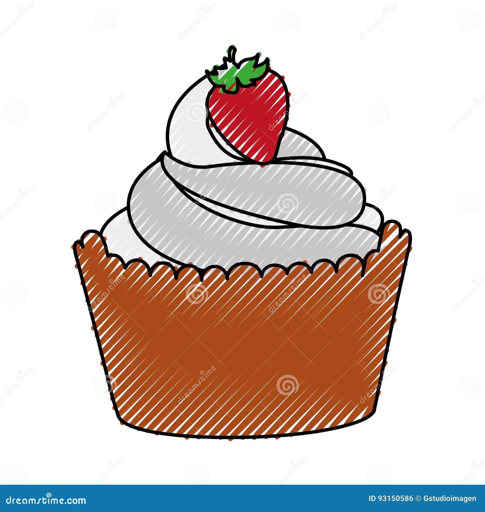 Köstlicher kleiner Kuchen mit Erdbeere lokalisierter Ikone