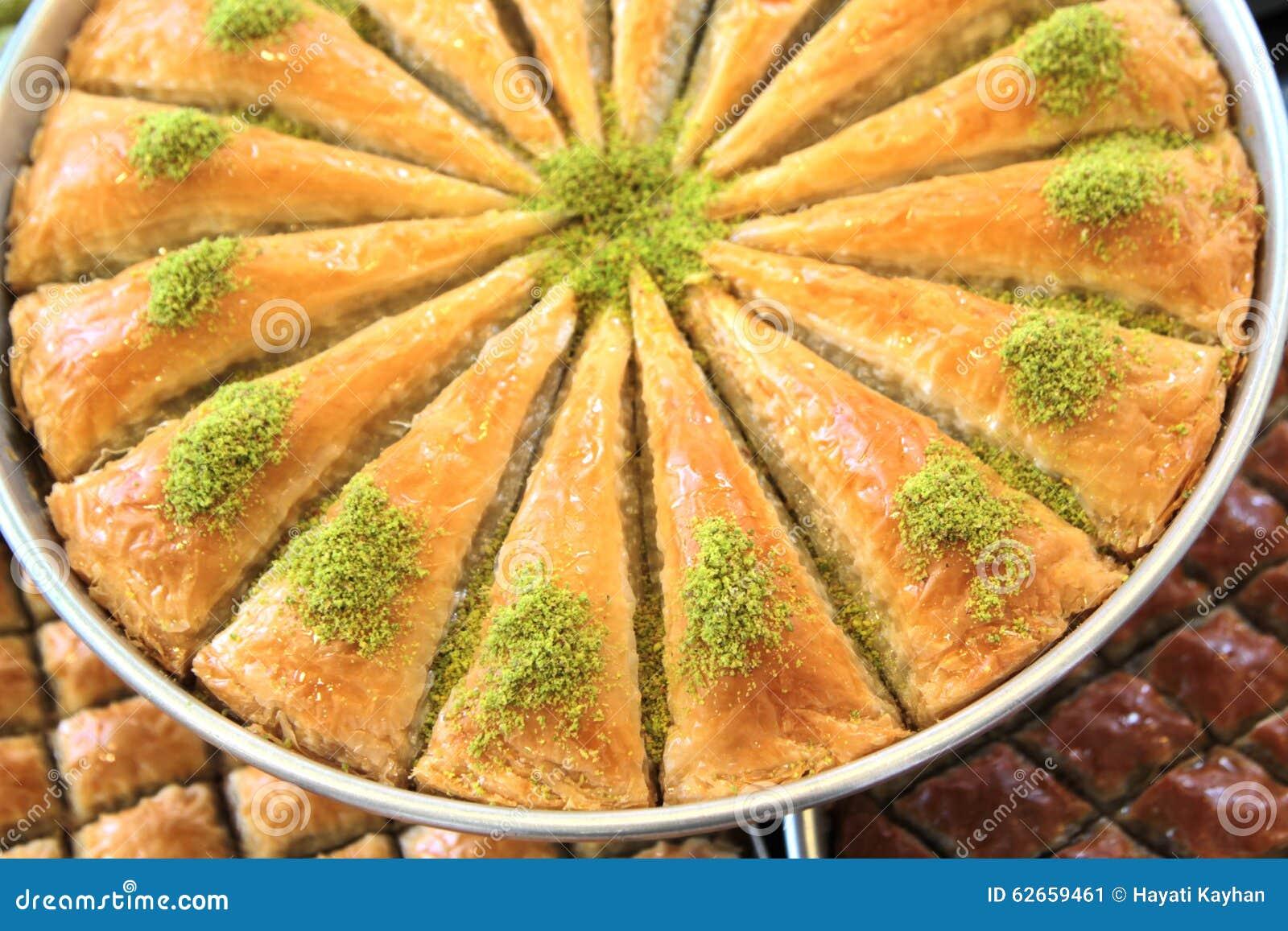 Kostlicher Turkischer Bonbon Baklava Mit Grunen Pistazien Stockbild