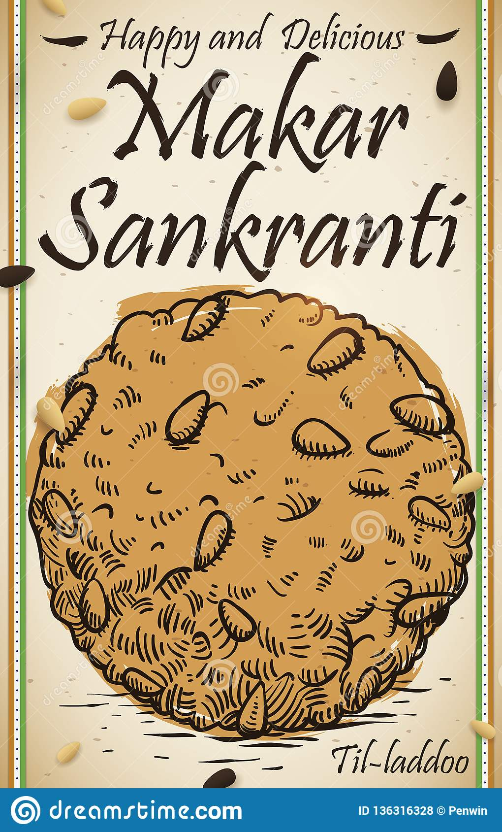 Köstlicher Til Laddu Draw mit Samen des indischen Sesams für Makar Sankranti, Vektor-Illustration